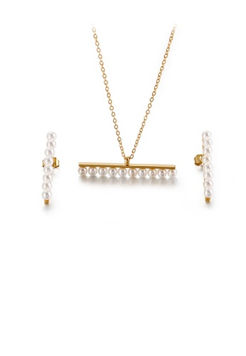 Glamorousky white Simple and Elegant Plated Gold Geometric Imitation Pearl 316L Stainless Steel Necklace and Stud Earring Set 7527DACF81F53DGS_1