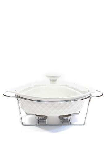 Slique white Oval Casserole Dish 2 Burner 1l FE6F6HLB1AD521GS_1