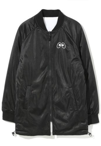 "Mini cream black ""BACK TO LONG"" long varsity jacket 74BD6AA70A7311GS_1"