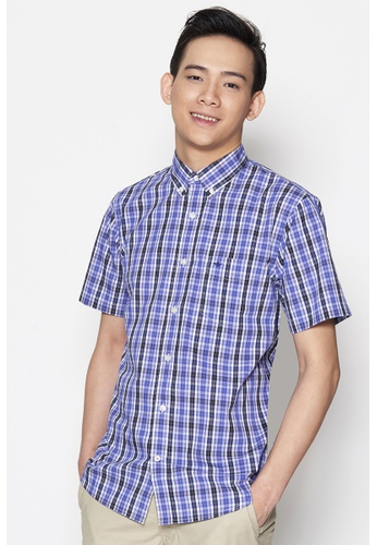 Dockers purple Dockers Short Sleeve Soft No Wrinkle Shirt Coco - Navy Blue DO282AA97QCWSG_1