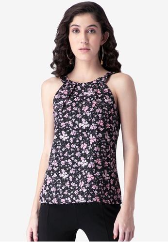 FabAlley black Black Floral Halter Top D2184AAE1E3F1AGS_1