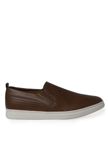 Minarno brown Brown Emboss Weave Slip-On MI641SH0V0EVID_1