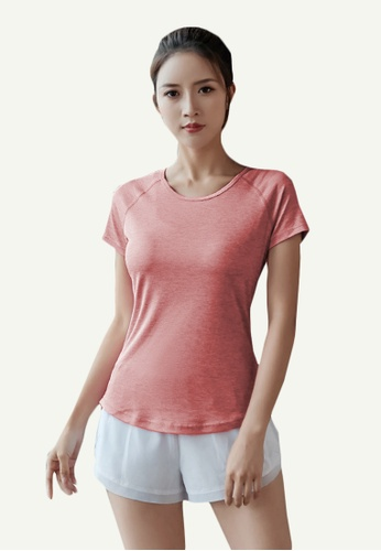 B-Code red ZYG5108-Lady Quick Drying Running Fitness Yoga Sports Casual Top-Red 63FD8AA59ADC7FGS_1