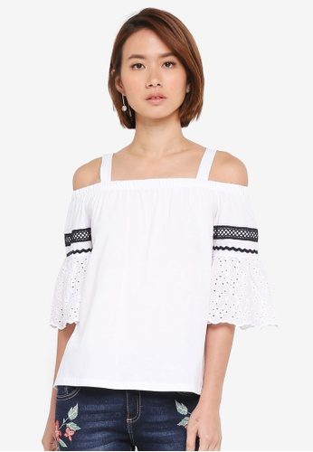 Dorothy Perkins white Ivory Broderie Cold Shoulder Top 9E014AA141B48EGS_1