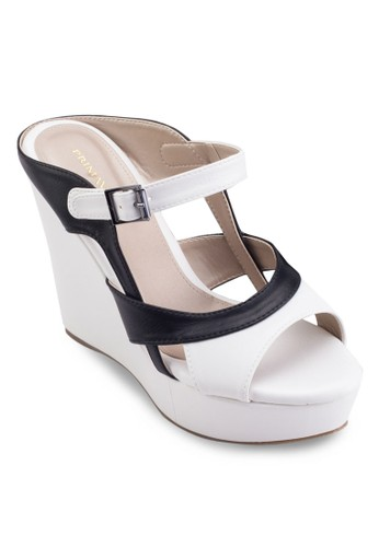 Zouk 撞色楔型跟涼zalora 折扣碼鞋, 女鞋, 鞋