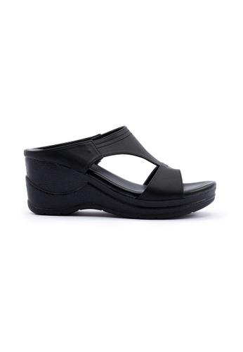 Unifit black T-Shape Wedge Sandal AFD89SH5F0D3EFGS_1