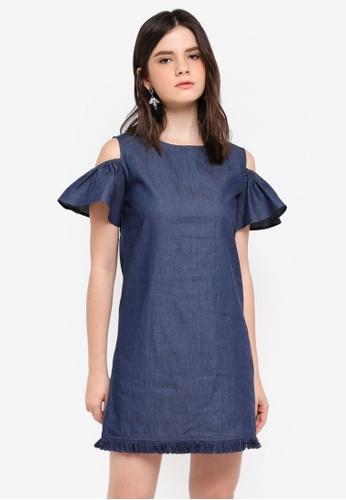 ZALORA blue Cold Shoulder Shift Dress 6E266AA5CC403BGS_1