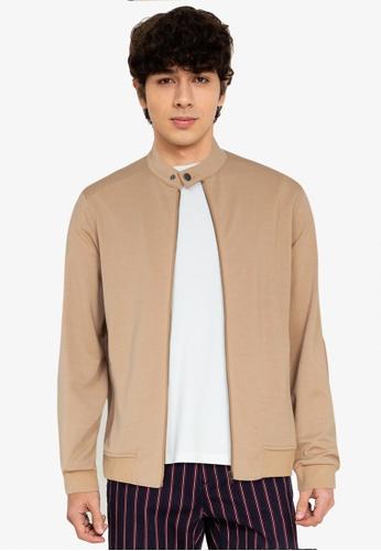 ZALORA BASICS brown Stand Collar Zipped Jacket F2F46AA7A5C04FGS_1