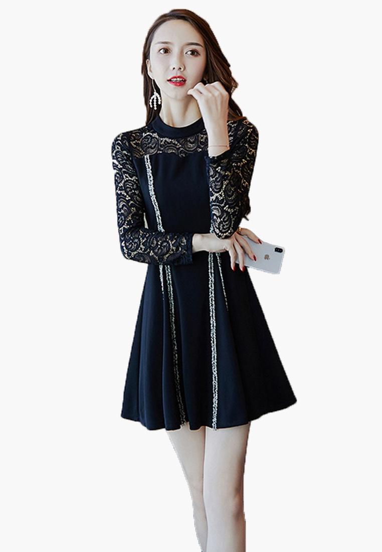 Dress See Sleeves Shoulder Lace Halo Through Black da4dw6