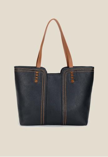 Lara black Women's Leisure PU Leather Tote Bag - Black 324EAAC2C9B14BGS_1