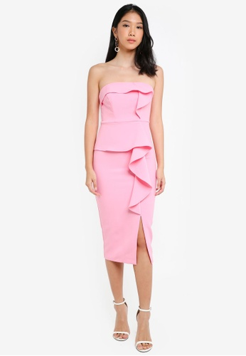 River Island pink Pink Side Frill Bodycon Dress 17CF2AA2FFA1D0GS_1