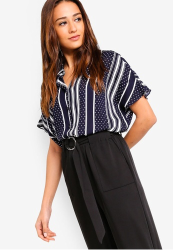 ZALORA multi and navy Extended Sleeves Shirt 4CAD7AA57BBBB5GS_1
