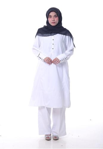 Denai Boutique white Tunic Jasmine With Pants B2B6BAA8CF9A93GS_1