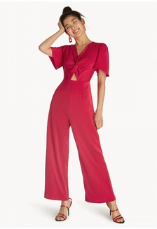 da6b1948c3d Knotted Hollow Jumpsuit - Red AABB5AAC097A68GS 1