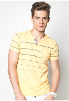 Slim Fit Stripes Henley Neck Tee