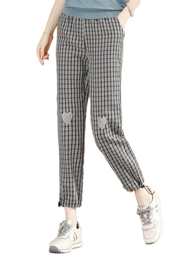 A-IN GIRLS black and grey Checkered Trousers With Elastic Waist B8DFEAA814163BGS_1