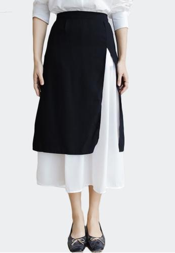 Shopsfashion black and white Layered Monochrome Midi Skirt CB85FAA1CD181FGS_1