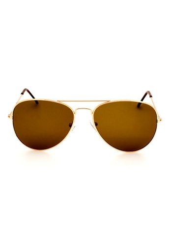 Elitrend brown and gold Unisex Metal Pilot Sunglasses In Brown EL890AC0FEZHSG_1