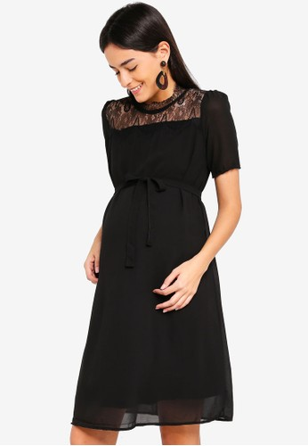 Mama.licious black Maternity Vola 2/4 Woven Dress 0A794AA21C4773GS_1