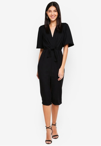 e6b6eaf69f8621 Buy Miss Selfridge Black Tie Front Midi Dress Online on ZALORA Singapore