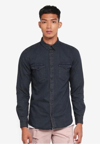 Only & Sons black Negredo Overdyed Denim Shirt 0B129AAA80DA62GS_1