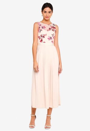 Little Mistress beige Floral Print Pleated Skirt Dress F9EABAAED9A8F0GS_1