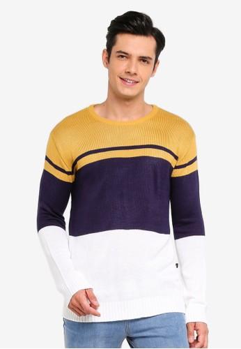 Penshoppe white and multi Color Block Sweatshirt F1177AA5BAA2E0GS_1