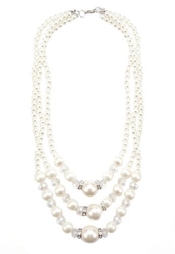 三層珍esprit hk珠項鍊, 飾品配件, 絕美洋裝