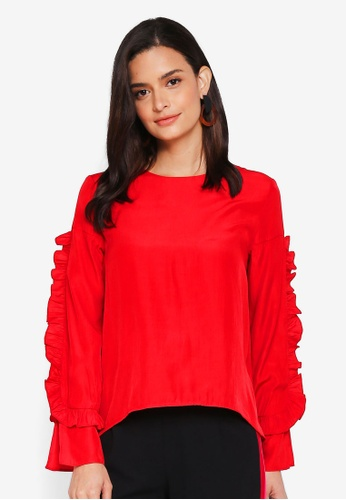 Lubna red Ruffle Top AC01AAA5656888GS_1