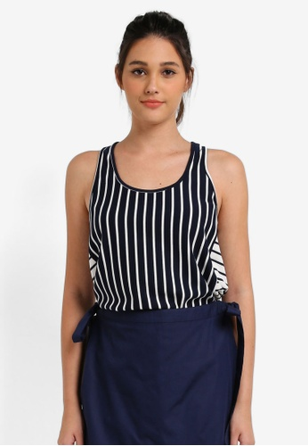 Something Borrowed white and navy Side Panel Detail Tank Top A372DAACB00F39GS_1