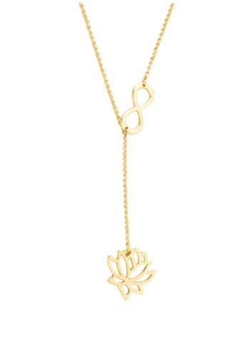 Sopistikada gold Yumi Infinity Lotus 18k Gold Plated Necklace  779C8ACFADF55AGS 1 770caa493bff