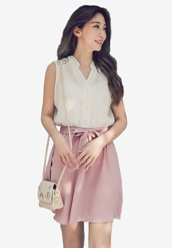 Eyescream pink Lattice Insert Faux 2-Piece Dress 5B313AA6BEDE7EGS_1