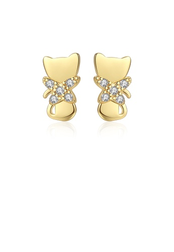 Glamorousky white 925 Sterling Silver Plated Gold Fashion Cute Cat Stud Earrings with Cubic Zirconia 09EA9AC889C6FBGS_1