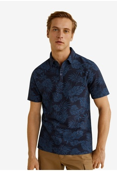 d8f3dc1111 MANGO Man blue and navy Hawaiian Print Cotton Polo Shirt 6ACDFAA1D4806BGS 1