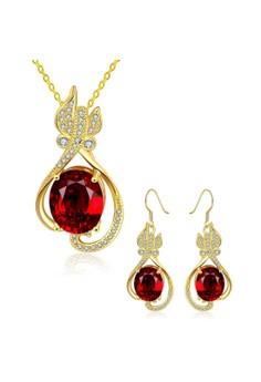 S504-A Plated Waterdrop Zircon Pendant Necklace Earrings Set Party Jewellery
