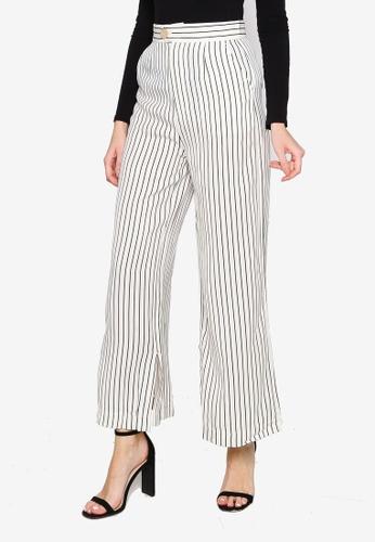 Hopeshow white Wide Leg Stripe Long Pants 08F1DAA0EA0056GS_1
