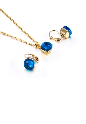 Glamorousky blue Fashion and Simple Plated Gold Geometric Square 316L Stainless Steel Necklace and Earrings Set with Blue Cubic Zirconia F83FBAC93E5BAAGS_1