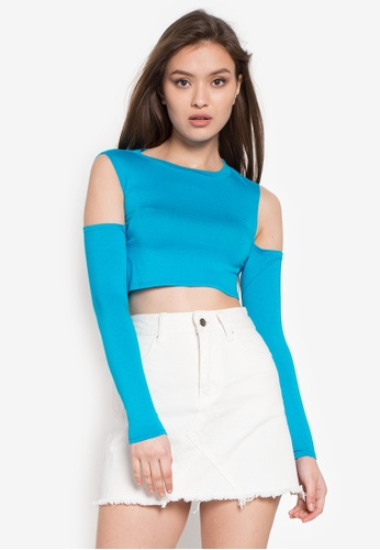 Twenteen blue Helga Cut-Out Long Sleeves Cropped Top TW408AA0KHSNPH_1