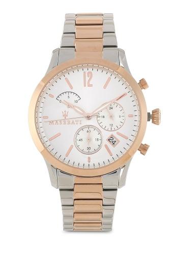 Maserati silver and gold Tradizione 40mm Chronograph Bracelet Watch MA410AC87HHCMY_1