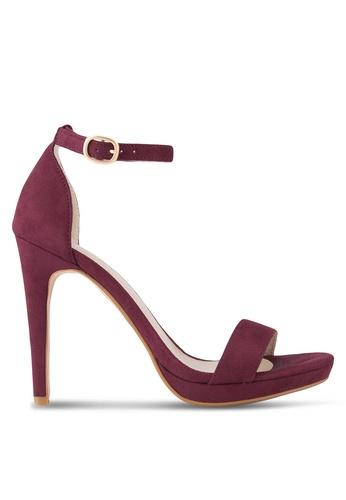 ZALORA 紅色 Ankle Strap Sandal Heel 67800SHB6FA9ADGS_1