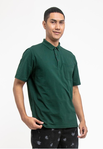 FOREST green Forest Cotton Spandex Regular Fit Polo Tee with Pocket - 23620 - Dk Green 43853AAA84907EGS_1