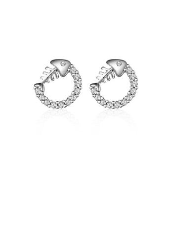 Glamorousky white 925 Sterling Silver Fish Bone Stud Earrings 9C4A6ACEAA277DGS_1