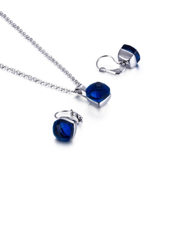 Glamorousky blue Fashion Simple Geometric Square 316L Stainless Steel Necklace and Earring Set with Dark Blue Cubic Zirconia C4774AC3F669B6GS_1