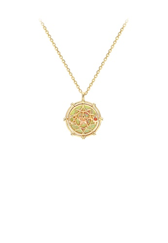 Glamorousky silver 925 Sterling Silver Plated Gold Fashion Creative Hollow Star Geometric Round Pendant with Cubic Zirconia and Necklace AA17EAC29449C8GS_1