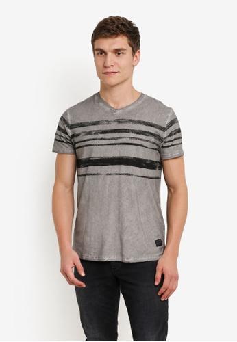 !Solid grey Kass Streak Print T-Shirt SO701AA0S2VGMY_1