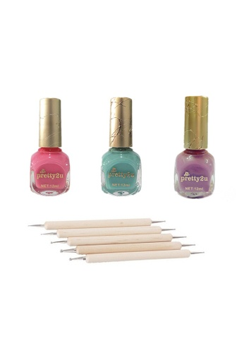 Pretty2u multi Nail Polish + Dot Pen Set -1 PR716BE29AYKMY_1