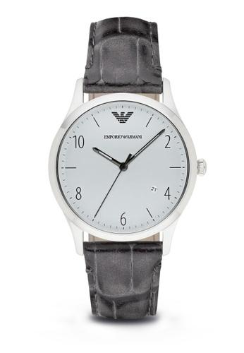 Emporio Armani grey Emporio Armani Gray Leather Watch AR1880 EM212AC09WNMMY_1