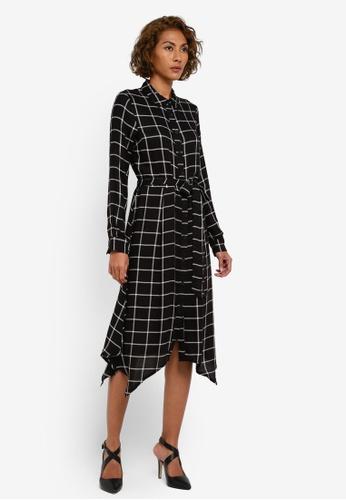 WAREHOUSE black Check Hanky Hem Shirt Dress WA653AA0RZI8MY_1
