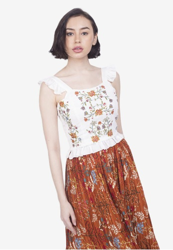 Caoros white Embroidered Ruffle Top 97488AA66B0FF3GS_1