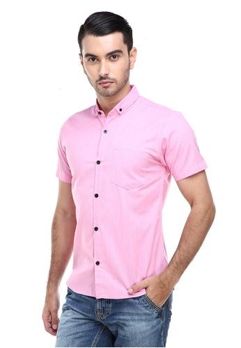 Hamlin pink Hamlin Dwan Casual Shirt Kemeja Polos Pria Lengan Pendek Kasual Formal Material Cotton ORIGINAL - Pink FF5D5AA009D9BFGS_1